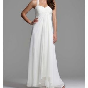 Halter Chiffon A-line w Center Front Draping Dress